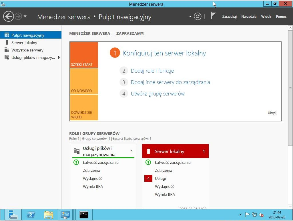 Wdrożenie Active Directory na Windows Server 2012