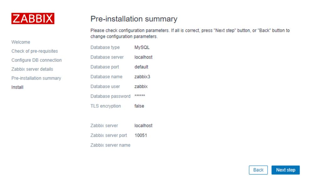 konfiguracja bazy Zabbixa
